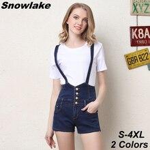 Snowlake 2017 Women Ripped Denim Jumpsuits Casual Sexy Slim Romper Plus Size 4XL Ladies' Denim High Waist Shorts Overalls