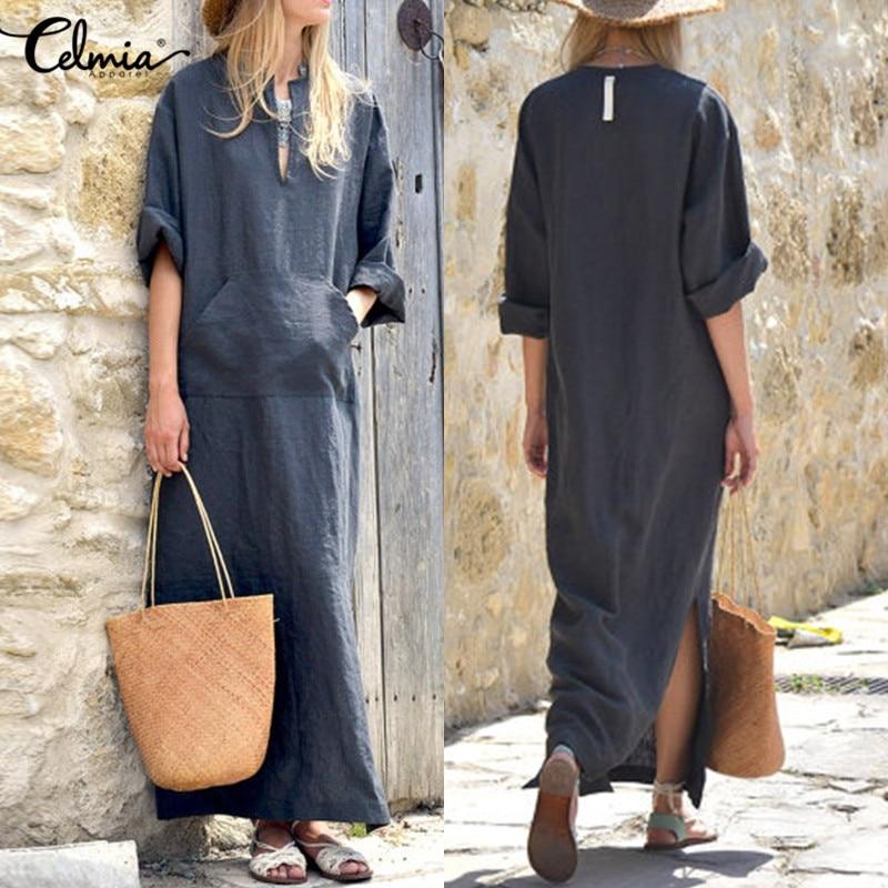 Vestidos Celmia Women Vintage Linen Dress Long 2018 Summer Autumn Sexy Deep V Neck Long Sleeve Split Maxi Dress Kaftan Plus Size