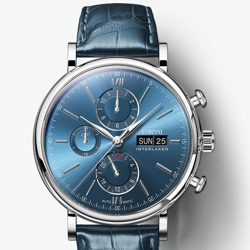 Швейцария LOBINNI для мужчин часы Элитный бренд вечный календарь Авто механические часы Сапфировая кожа relogio L13019-3