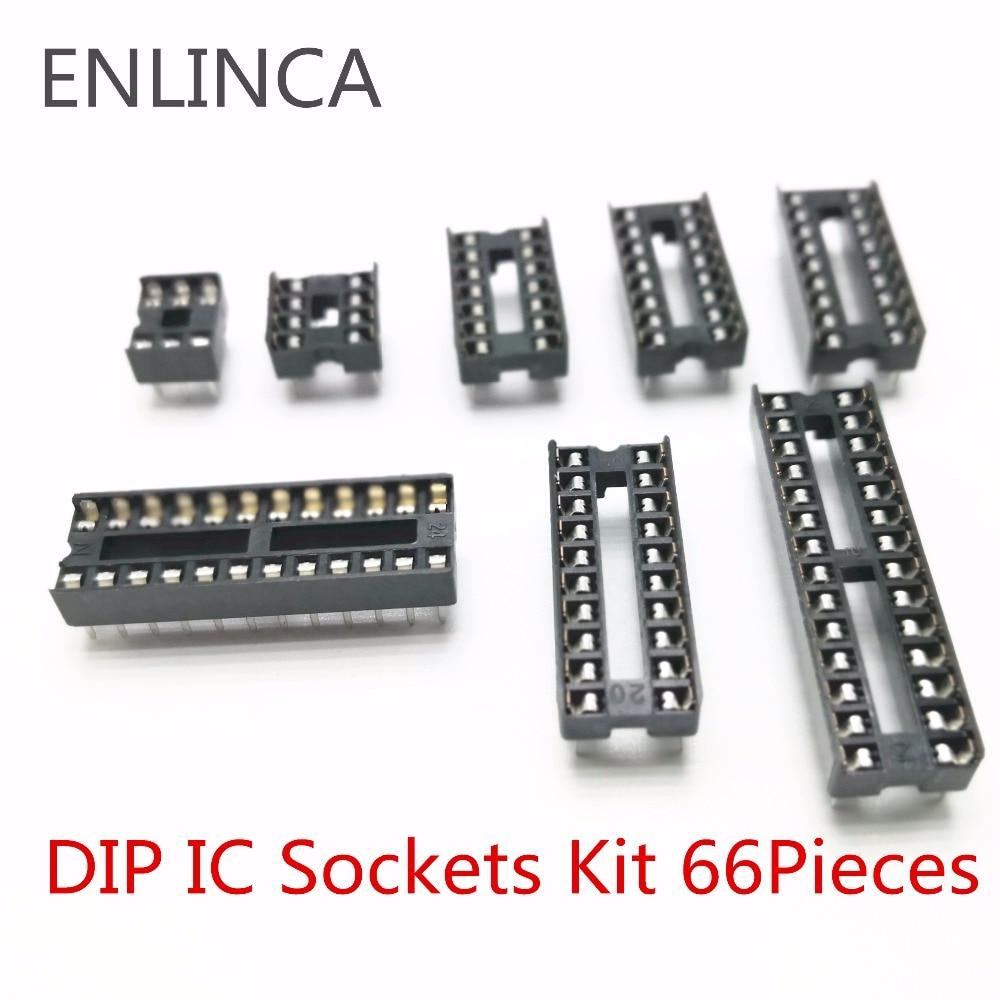 66Pcs DIP IC Sockets Adaptor Solder Type  Kit 6 8 14 16 18 20 24 28 Pins US