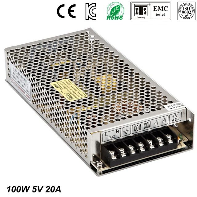 Best quality 5V 20A 100W Switching Power Supply Driver for LED Strip AC 100-240V Input to DC 5V free shipping