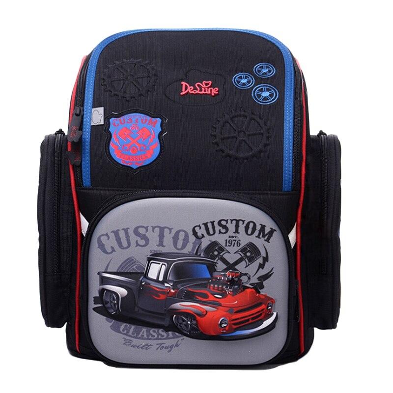 Delune 2019 3D سيارة نمط مدرسية للأولاد فتاة الكرتون على ظهره الأطفال العظام الظهر البومة حقيبة Mochila Infantil-في حقائب مدرسية من حقائب وأمتعة على  مجموعة 1