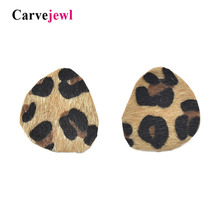 Carvejewl big stud earrings geometric unique leopard print for women jewelry romantic fashion European