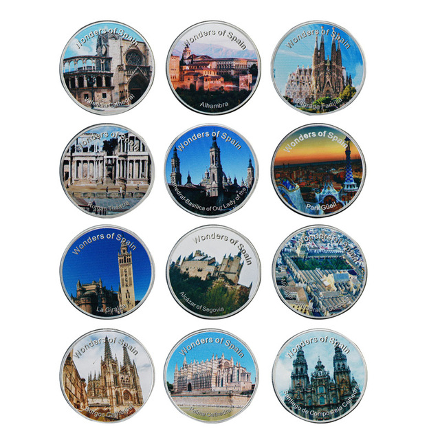 WR Unique Souvenir Spain Sets Challenge Coin 12pcs Spain Scenery Commemorative Silver Plated Coin for Collectible Festival Gifts