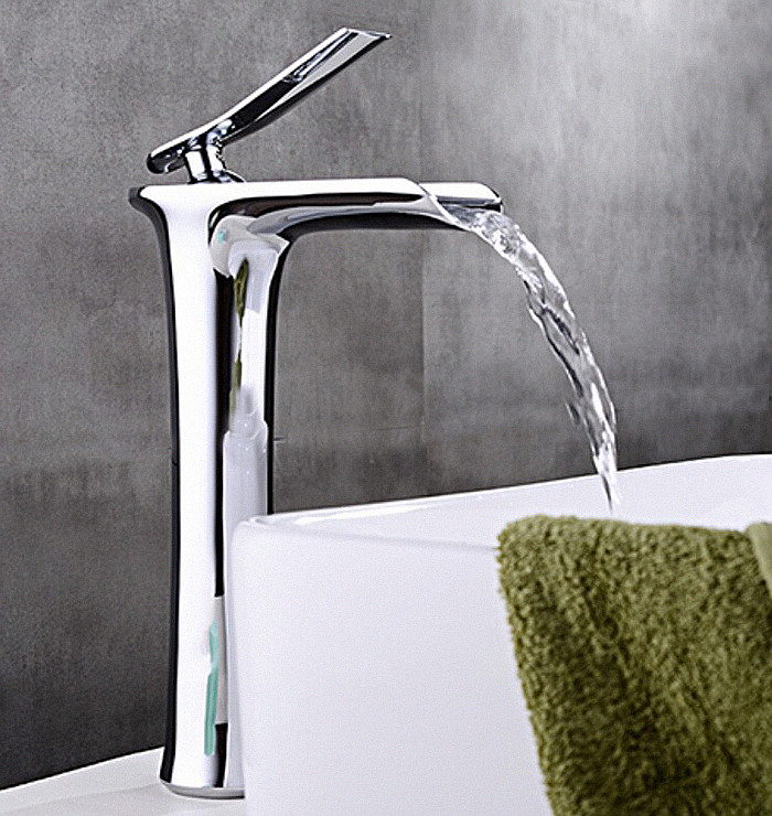 Free shipping Wall Mounted Waterfall Bathroom Faucet Chrome Brass Spout Vanity Sink Mixer Tap BF095