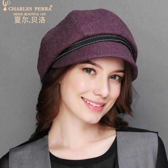 Charles Perra Chapéus Femininos Outono Inverno Novo Chapéu de Lã de Moda  Casual Quente Mulheres Boina ddd6502222c