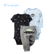 HIMIPOPO Baby Clothing Sets 3pcs Baby Boys Girls Cute Cardigan Set Long Sleeve Baby Bodysuit Cotton