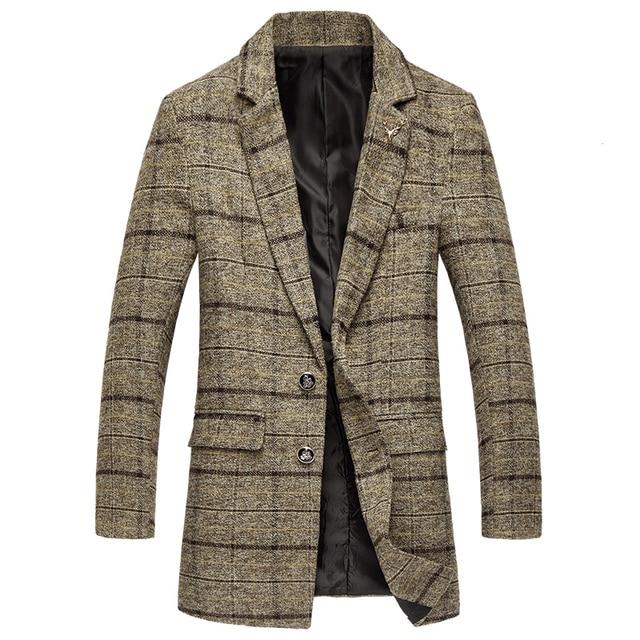 Мужская осенне-зимняя Классическая клетчатая тонкая шерстяная куртка большого размера высокого качества, длинное шерстяное пальто/2018 новая Изысканная ветровка