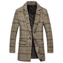 все цены на Men's autumn and winter classic plaid large size slim wool high-end long-length woolen coat / 2018 new boutique windbreaker онлайн
