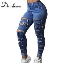 Dear lover Women Jeans Destroyed New 2017 ladies Light Denim Ripped Pencil Jeans Blue Denim Whisker Wash skinny jeans LC78648