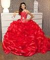 2017 Red Quinceanera Vestidos com frisado mangas vestido de baile para 16 doces vestidos de 15 años debutante vestido