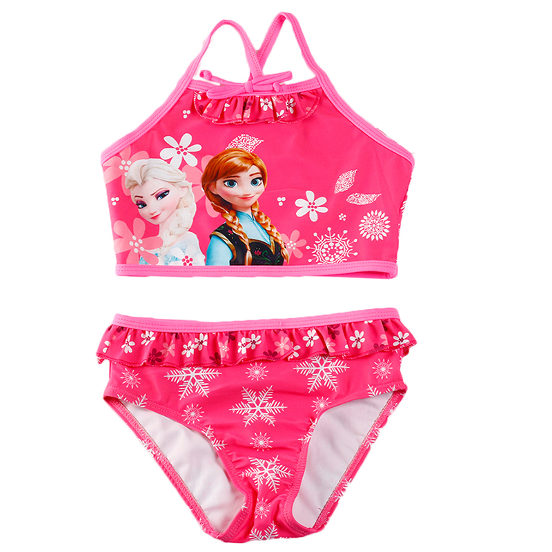 XABER KIN Two Pieces Baby Girls Bathing Suit Elsa Anna Sophia Swimsuit Children Bikini Set Kids Cartoon Swimwear G16-SW068 2018 new summer bathing suit girls split two pieces swimwear children cute star pattern split bikini girls swimsuit wholesale