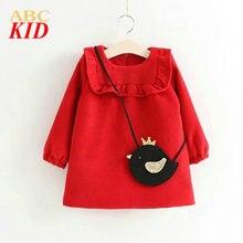 Red thick warm winter fleeces dress for kids vestido infantil girls clothes new year children long shirt KD044