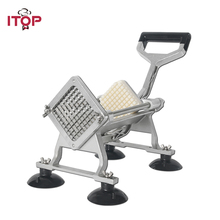 Купить с кэшбэком ITOP Manual Potato Machine French Fries Cutter Potato Chip Carrot Slicers Kitchen Vegetable Fruit Tools With 6/9/12mm Blades