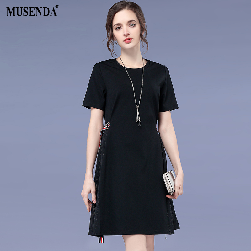 MUSENDA Plus Size Women Black Patchwork O-Neck Short Sleeve Tunics Dress 2018 Summer Sundress Ladies Casual Dresses Clothes 5XL