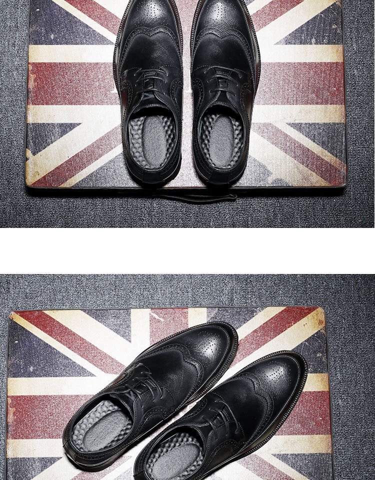 New Spring Autumn Man Genuine Leather Dress Shoes big size Breathable soft Fashion Sleeve Business Wedding Oxford Formal Shoes (4)
