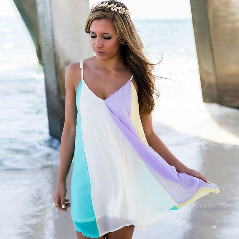 2019 Abiti Delle Donne Di Estate Beachwear Costumi Da Bagno Di Occultamento Del Bikini Delle Signore Arcobaleno Colorato Abiti Estivi A1