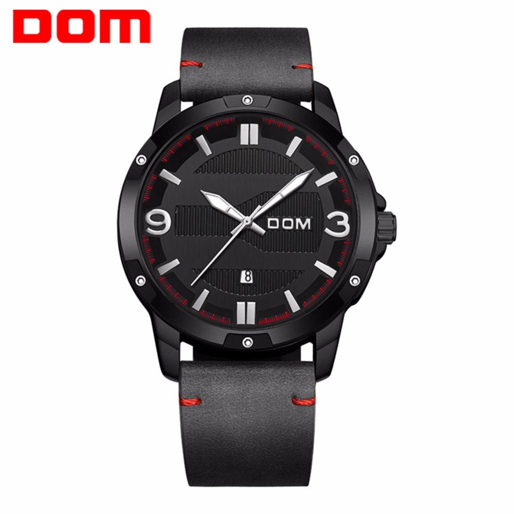 New Luxury Brand DOM Men Fashion Casual Watches Men's Quartz Clock Man Leather Strap Luminous Army Military Sports Wrist Watch brand watches men fashion casual quartz watch man waterproof sports military leather strap wrist watches