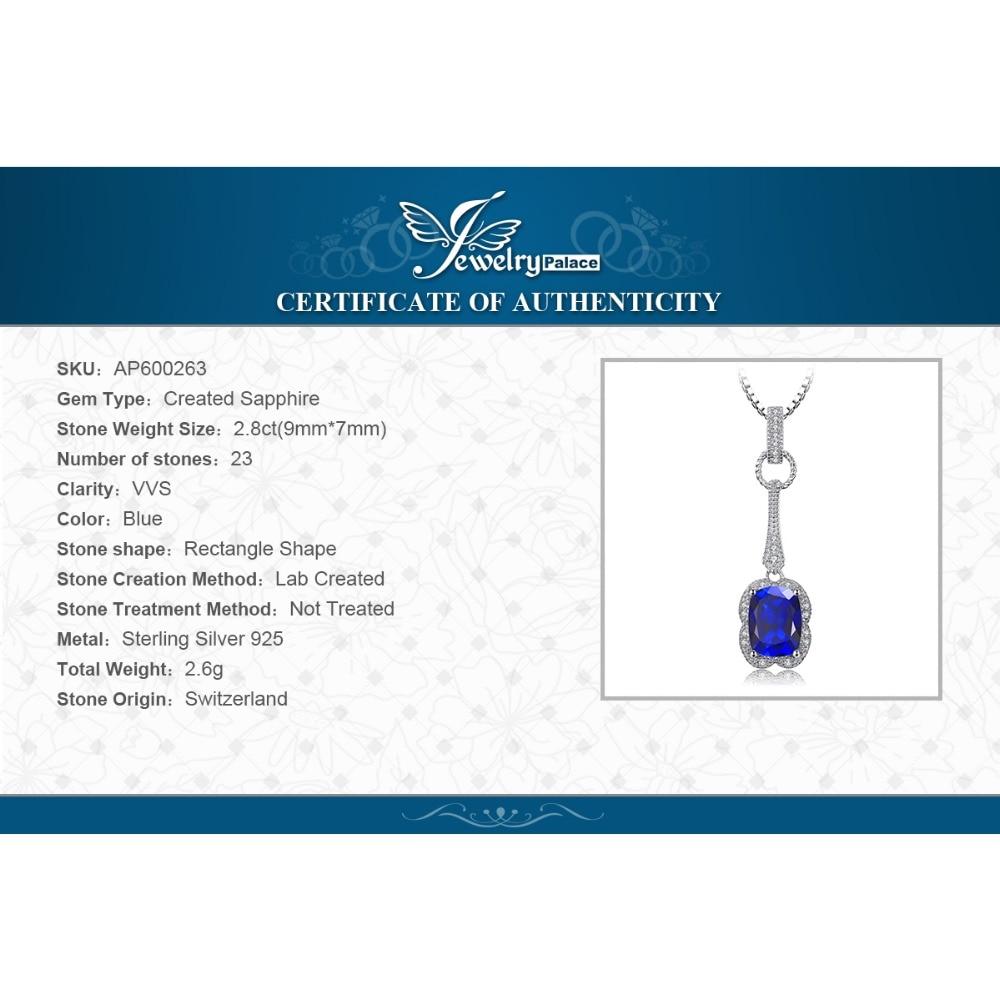 JewelryPalace Elegante rectángulo 2.9ct creado zafiro colgante 925 - Joyas - foto 6