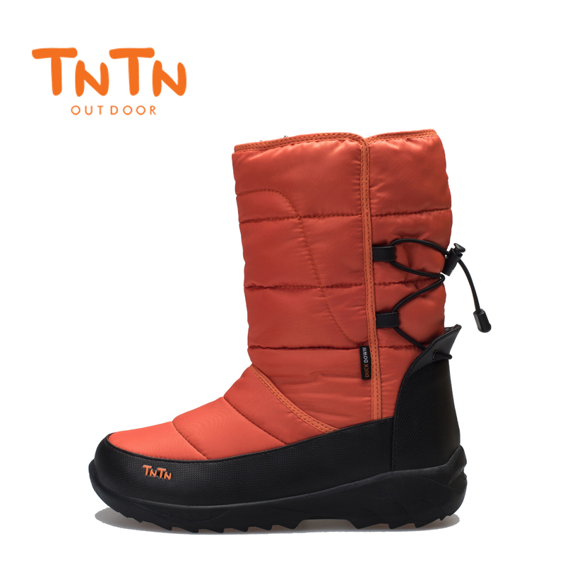 TNTN 2018 womens outdoor winter boots thick feathers waterproof womens couples ski boots cotton boots for women