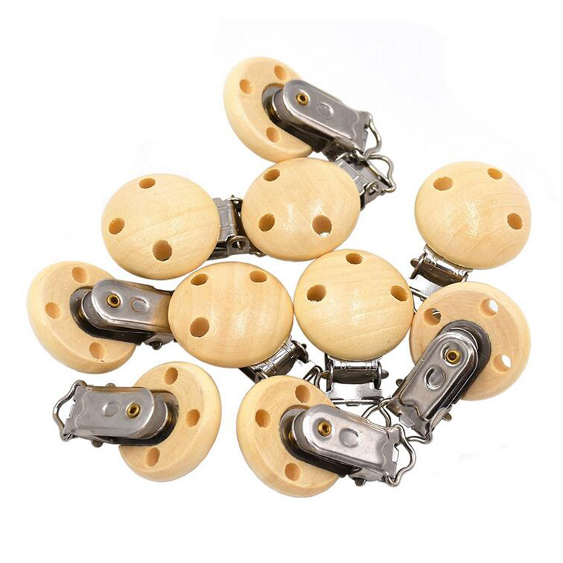 Baby Pacifier Charms Clips Natural Color Wooden Eco Friendly Baby Wood Pacifier Clip Holder Mother Safe Feeding Kids Clip