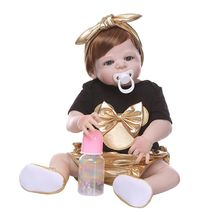 Premium New 22 Reborn Doll Realistic Silicone Vinyl Newborn Babies Toy Girl Princess Clothes Pacifier Lifelike Handmade Gifts