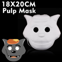 5pcs  DIY hand-painted masks wolf cute animal cartoon pulp paper pulp mask mask cartoon plup mask Free Shipping