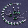 New Style Round 925 Sterling Silver Green Emerlad Jewelry Sets For Women Earrings/Pendant/Necklace/Rings/Bracelets Free Gift Box