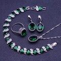 Novo Estilo Rodada 925 Sterling Silver Emerlad Verde Conjuntos de Jóias Para As Mulheres Brincos/Pingente/Colar/Anéis/pulseiras Caixa de Presente Livre