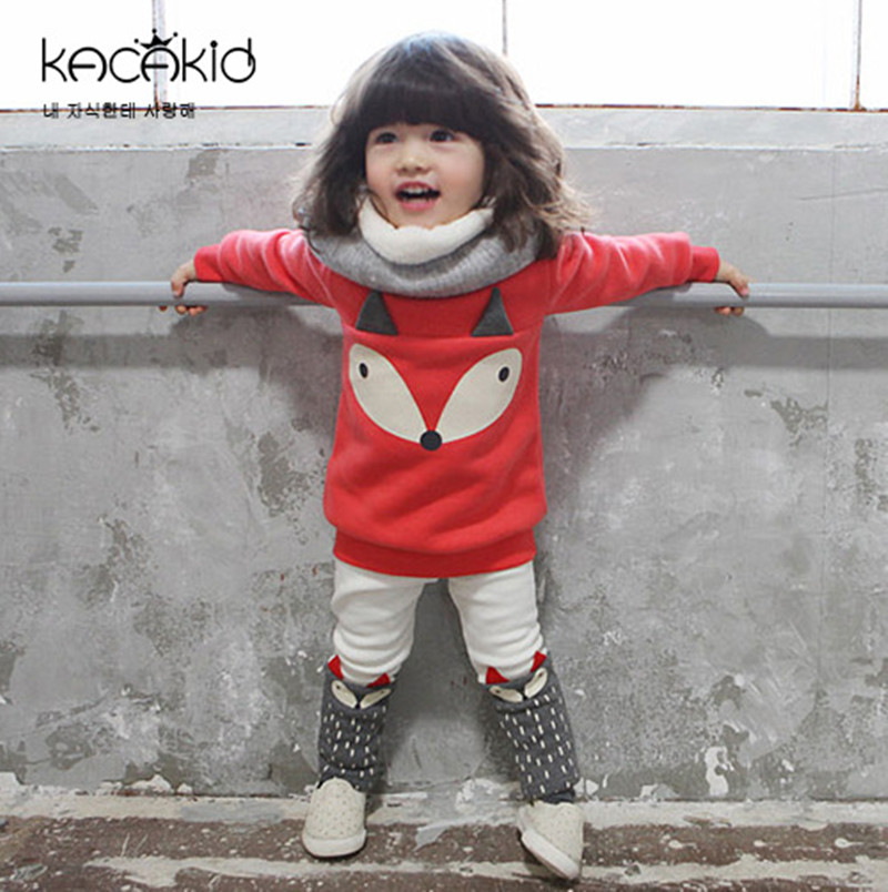 0-3 years 3D Fox Cotton Baby Girls Clothing Sets Thick Hoodies Extra Warm for Autumn Winter Pullover + Leggings Casual Wear