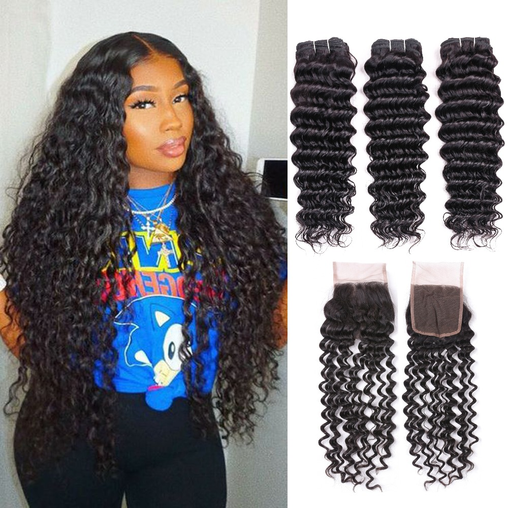 Brazilian Hair Weave Bundles Deep Wave Bundles with Closure Human Hair wet and wavy bundles with