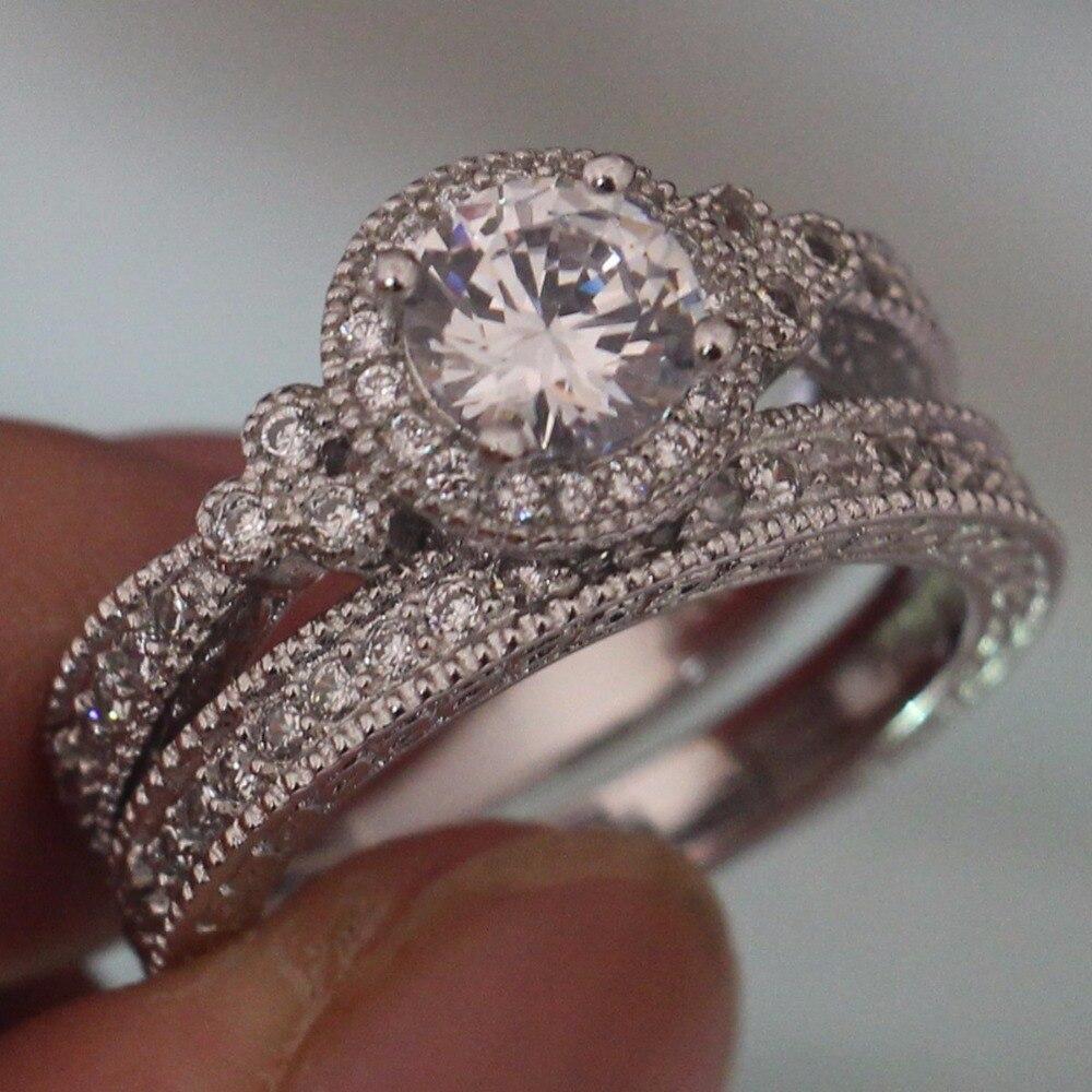 Размеры 5–10 Бесплатная уникальный дизайн ретро изделия стерлингового серебра 925 Мода, круглой огранки 5A Цирконий CZ Для женщин свадебные кол