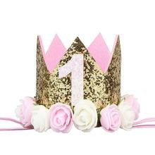 Счастливые первые шляпы для вечеринки по случаю Дня рождения декоративная крышка один день рождения шляпа Принцесса Корона 1-й 2-й 3-й год номер детские аксессуары для волос