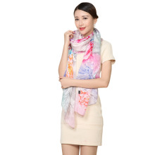 016 190*105cm New Style Floral Shawl Brand Tartan Design Silk Scarf Big Size Hijab Fashion Silk Scarves Women