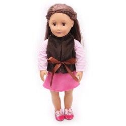 18 дюймов американская Кукла одежда жилет розового цвета, Одежда для новорожденных, комплекты детская юбка игрушки аксессуары подходят; Бол...