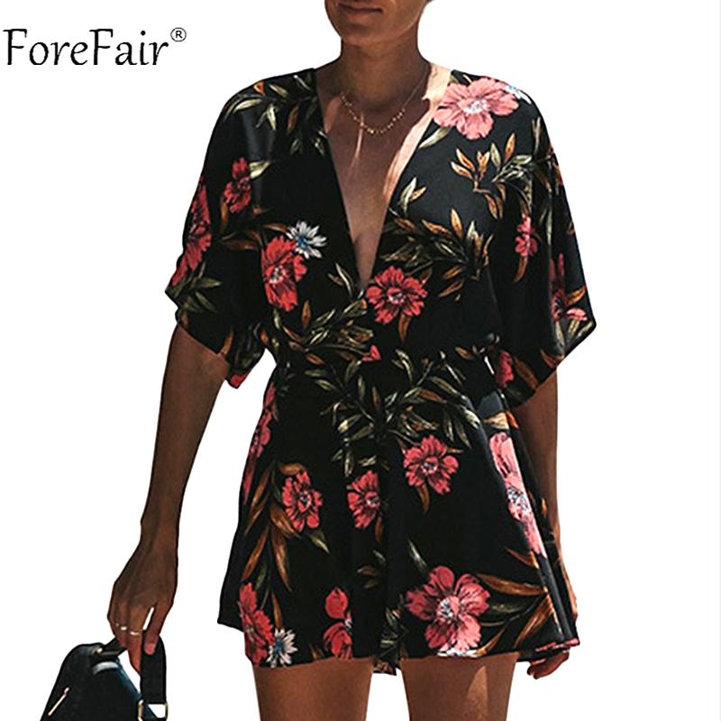 Forefair Black Sexy Backless Print Playsuits Women Floral Rompers Female V Neck Short Loose Bohemian Jumpsuit Plus Size
