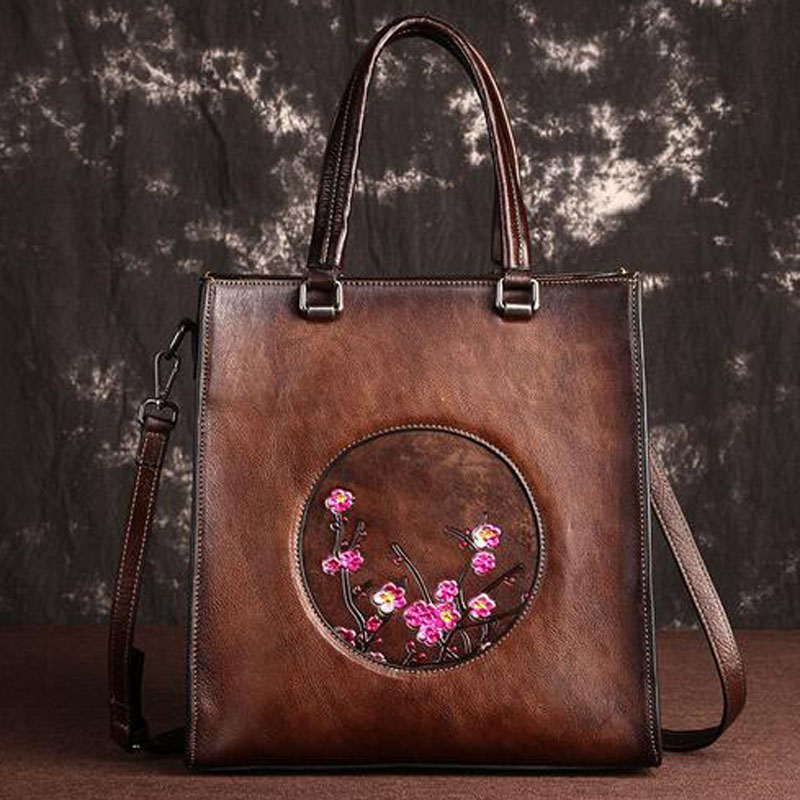 Real Cowhide Women Top-Handle Bags Messenger Female Shoulder Shopping Bag Floral High Quality Tote Bags Women Genuine Leather HaReal Cowhide Women Top-Handle Bags Messenger Female Shoulder Shopping Bag Floral High Quality Tote Bags Women Genuine Leather Ha