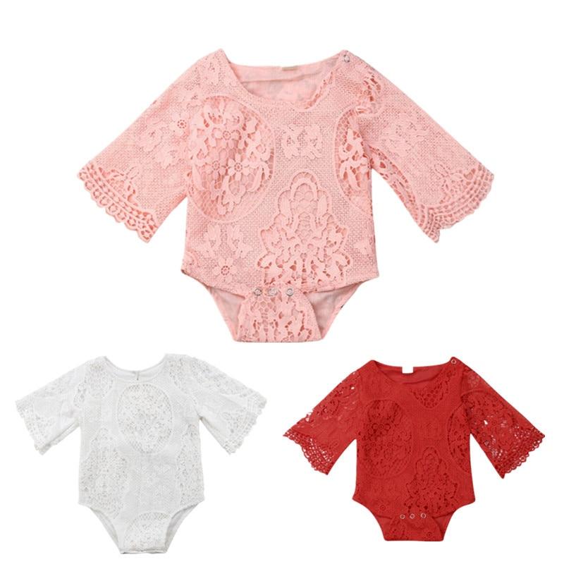 Cute Newborn Infant Baby Floral Lace Romper Bodysuit Jumpsuit Clothes Outfits
