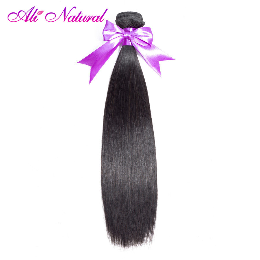 Ali Natural 1 Bundle Peruvian Straight Hair Weave Bundles 10-28 inches 100% Human Hair Extensions Non-remy Nature Color
