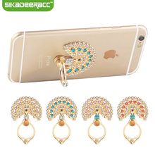 SC49 Universal Luxury Peacock Diamond Finger Ring Phone Holder Mount For iPhone 5 5s 6 6s Samsung Mobile Phones Tablet Dock