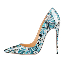 Dropshopping Sweet Female Red Painting Printing Pumps Women 12Cm Thin High Heels Wedding Party Pointed Toe Office Shoes D004A