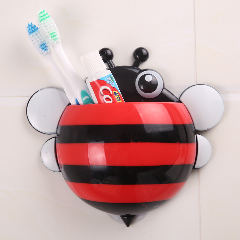 Bathroom:  2015 Creative Bathroom Products Sets bees Toothbrush Toothpaste Holder Wall Sucker Suction Hook Tooth Brush Holder - Martin's & Co