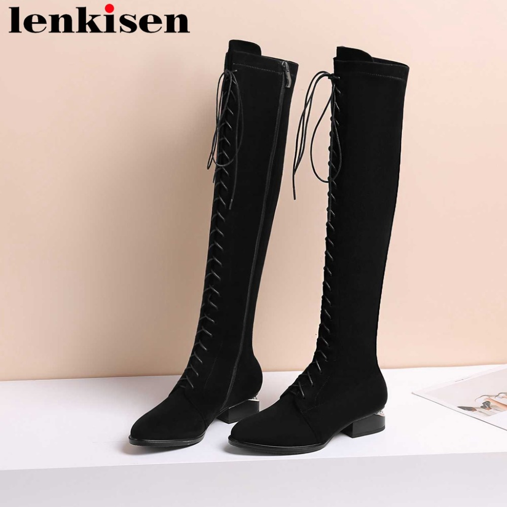 Winter fashion brand balck stretch thigh high boots large size round toe zipper bowtie pearls low