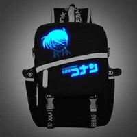 Nueva Animación Japonesa Detective Conan Comic Accesorios Mochilas para adolescentes Luinous Logo bolsas para portátiles mochila