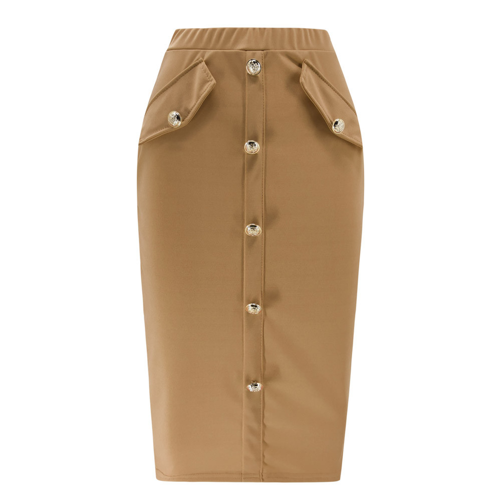 Solid Button Front Pocket Slim Long Skirt Women Summer Elegant Office Lady Bodycon Workwear Skirts High Waist Pencil Skirt 3