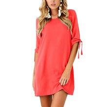 Women Summer Casual Short Dress Sleeve Beach Holiday Sundress Party Loose Tunic Bandage Mini Dresses