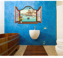 Autocollants muraux de fenêtre 3D, décor de maison, paysage de plage, vue artistique, papier peint Mural Poter
