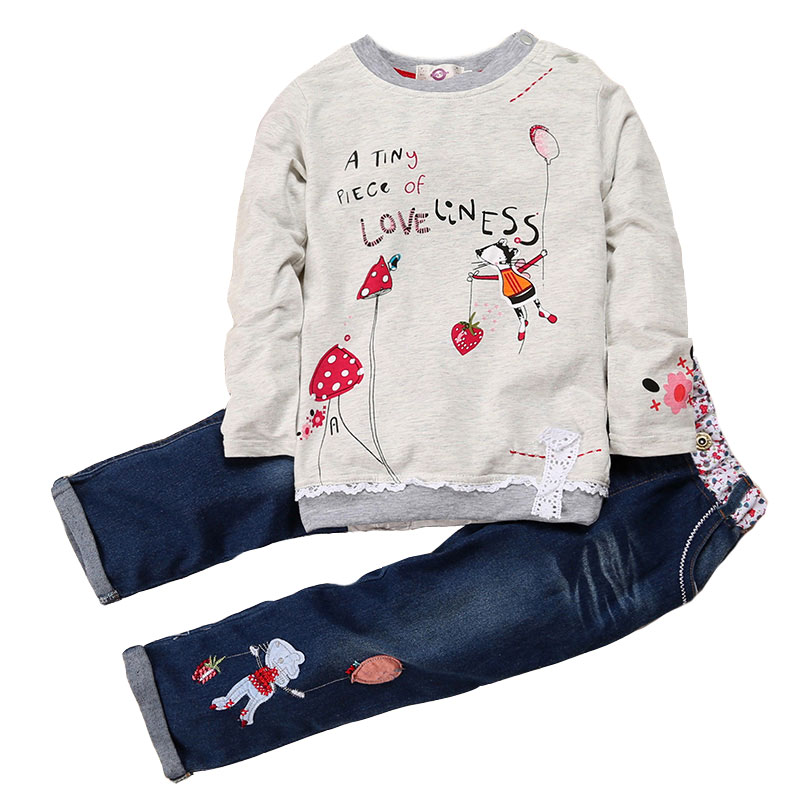 Casual Spring Autumn Girls Clothing Sets Cotton Long Sleeve Floral O-neck Tops And Lace Jeans Child Clothes Suits 2 To 6 Years grey lace details floral print v neck sleeveless pajamas sets