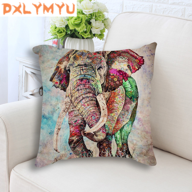 Colorful Elephant Cushion Cotton Linen Pillow Cushion Sofa Bedroom Home Decorative Throw Pillow Cartoon Cushion No Filling