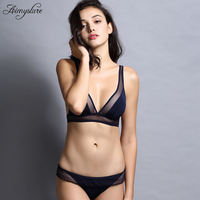 Sexy Bralette Bra Set Wireless Seamless Triangle Cup Women Plunge Underwear Soft Cup Ultra Thin Vs